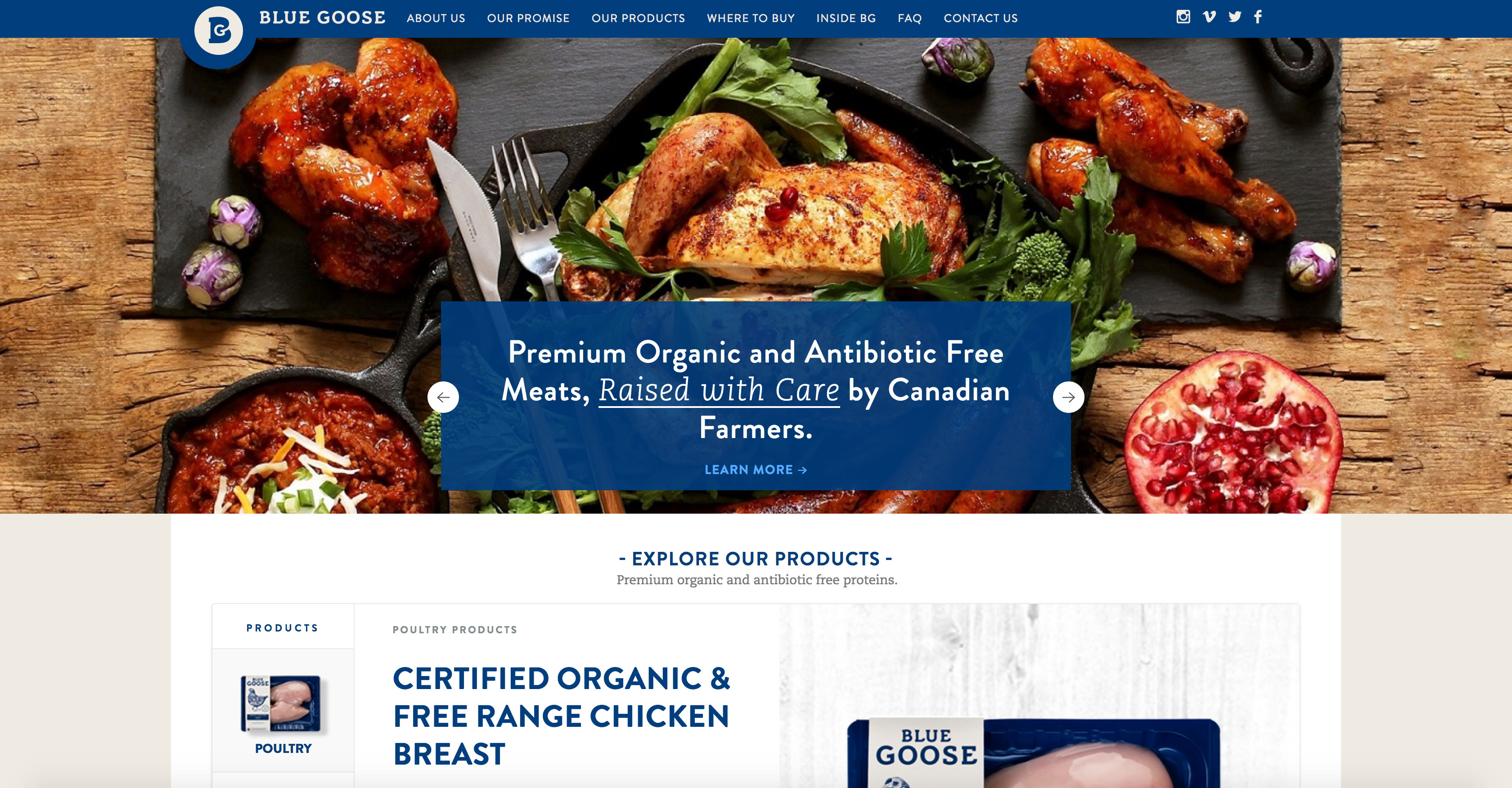 Consumer Product Goods - Blue Goose Hilborn Digital Website Design